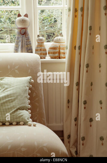 Patterned Curtains On Window In Stock Photos & Patterned Curtains ...