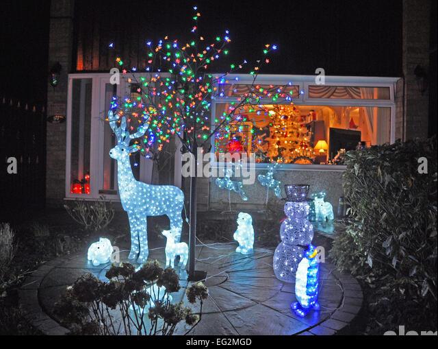christmas decorations outside suburban house england stock image - Christmas Decorations For Outside