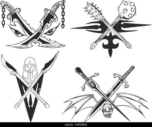 Winged skull stock photos winged skull stock images alamy for Crossed swords tattoo