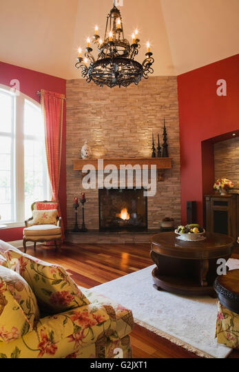 Elegant Living Room With Fireplace Stock Photos Elegant Living Room With Fireplace Stock
