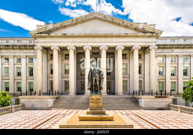 The Treasury Building in Washington D.C. This public building is a National Historic Landmark and the headquarters - Stock Image
