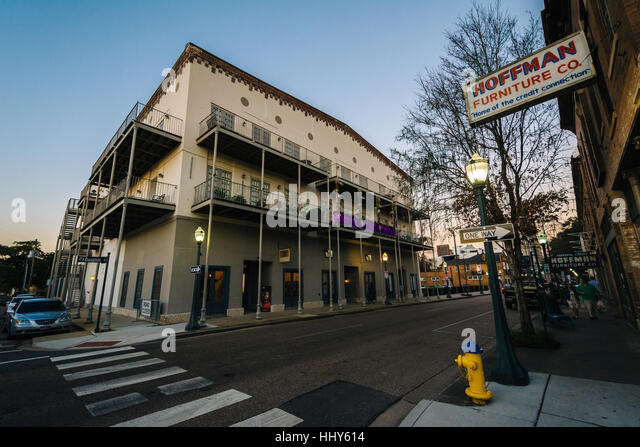 furniture store along dauphin street in downtown mobile alabama stock image