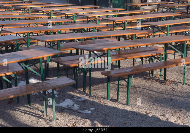 Culture Garden Germany German Federal Republic Beer Seat Bench Table Alone    Stock Image