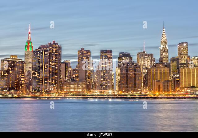 New York Skyline from Gantry Plaza - Stock Image