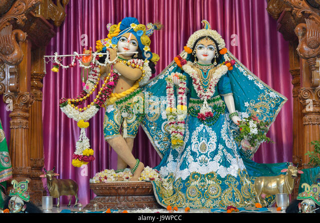 Deities of Shree Radha Gopal mandir (ISKCON) Aravade, Tasgaon near Sangli, Maharashtra. - Stock Image