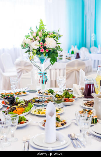 The elegant dinner table - Stock Image