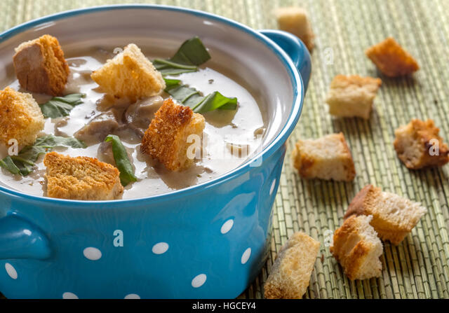 Mushroom Cream Soup In Ceramic Bowl And Some Croutons Stock Image