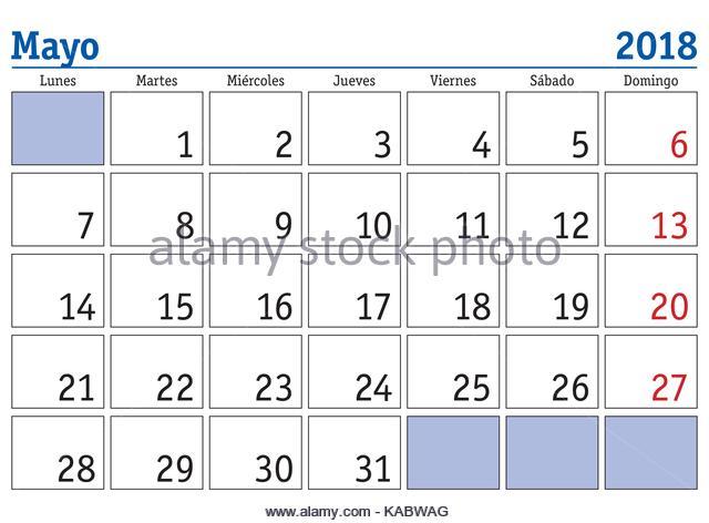 May Spanish Calendar : Calendario stock photos