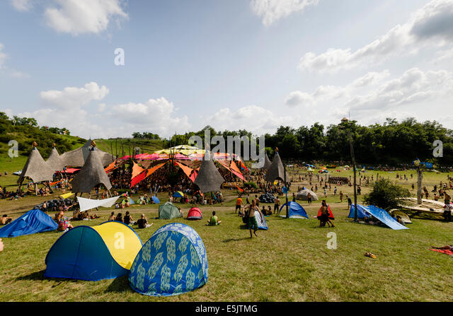 Ozora Hungary. 01st Aug 2014. Overlooking the Main Stage at O.Z.O.R.A. an & Music Festival Tents And Stage Stock Photos u0026 Music Festival Tents ...