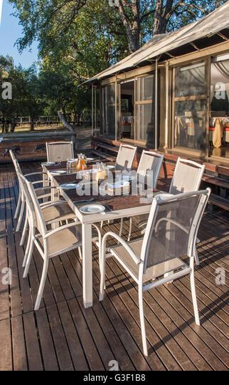 Outdoor Dining Area At Zambezi Sands River Lodge Zimbabwe
