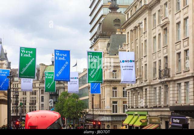 London Everyone Welcome banners in the West End, an Initiative by the Mayor to welcome tourists, London, UK - Stock Image