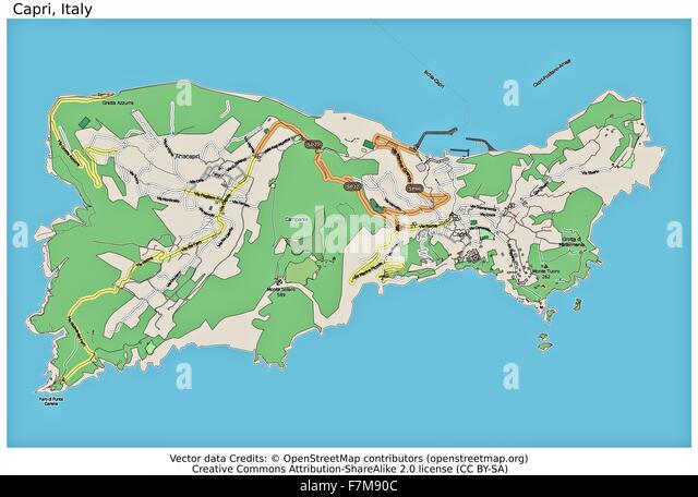 Capri Italy Location Map Stock Photos Capri Italy Location Map