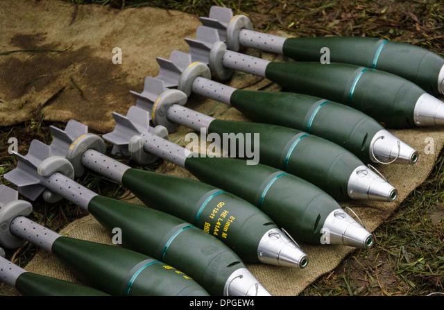 Mortar High Explosive Round : Mm mortar he rounds stock photos