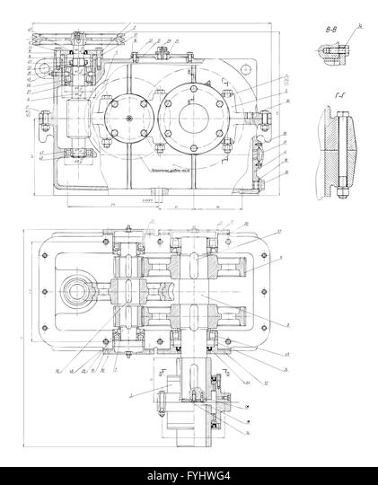 Engineering Drawing On Colorful Background Cut Out Stock Images