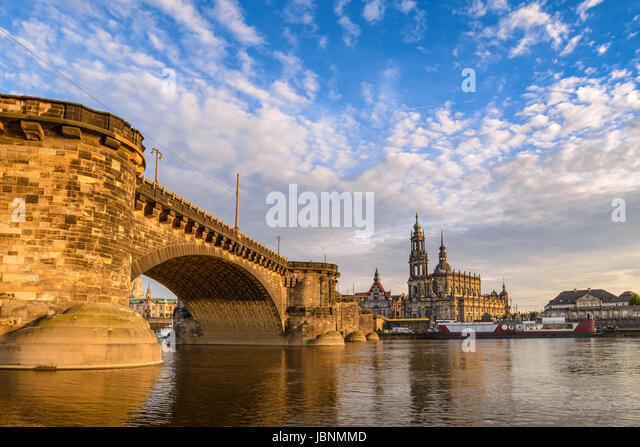 Dresden city skyline at Elbe River and Dresden Cathedral when sunset, Dresden, Germany - Stock Image