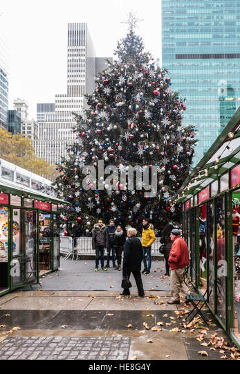 christmas tree at bryant park winter market new york city stock image - Christmas Tree Market