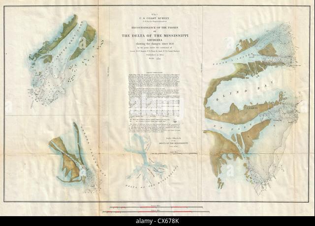 1852 U S Coast Survey Map Of The Mississippi River Delta Stock Image
