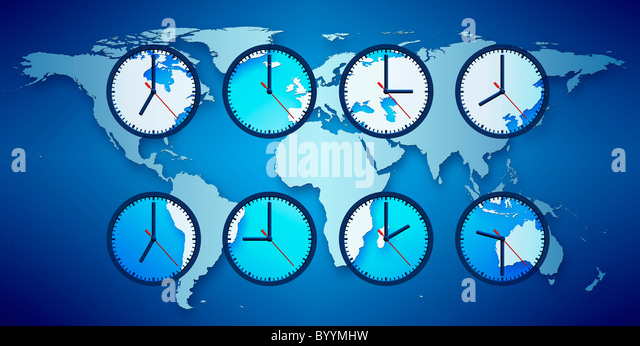 World Map With Clocks Displaying Local Time.   Stock Image