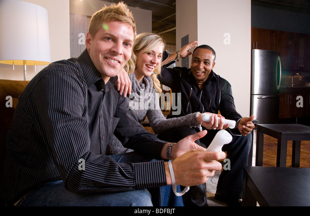 Couple Playing Video Games Together Stock Photos Couple Playing
