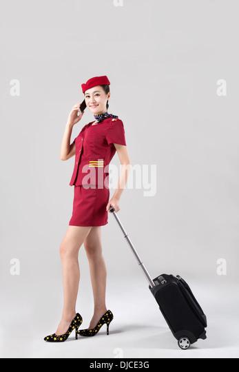 Airline Flight Stewardess Air Attendant Cabin Host Crew Stock ...