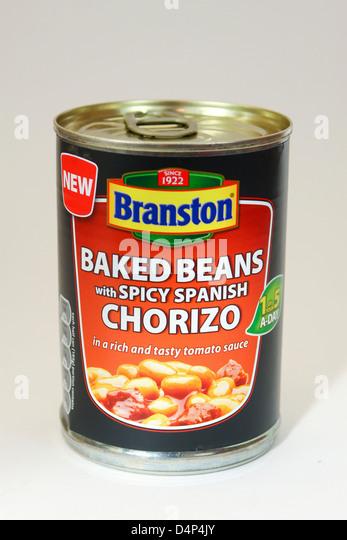 Tin Of Branston Baked Beans And Spicy Spanish Chorizo Stock Image