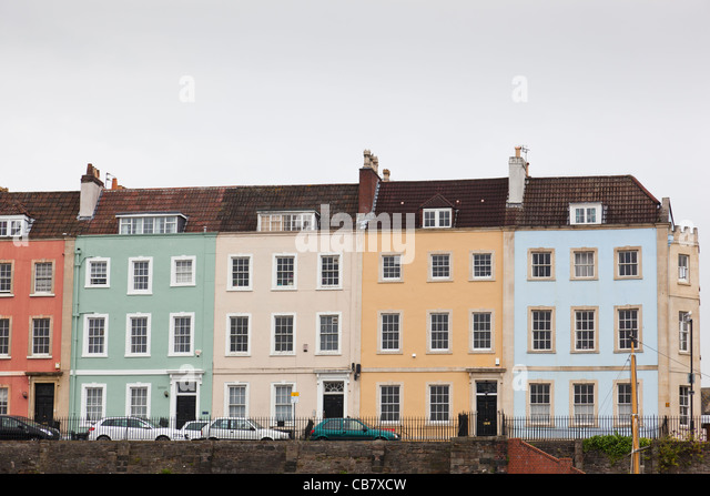Row pastel coloured terraced houses stock photos row for 64 rustic terrace bristol ct