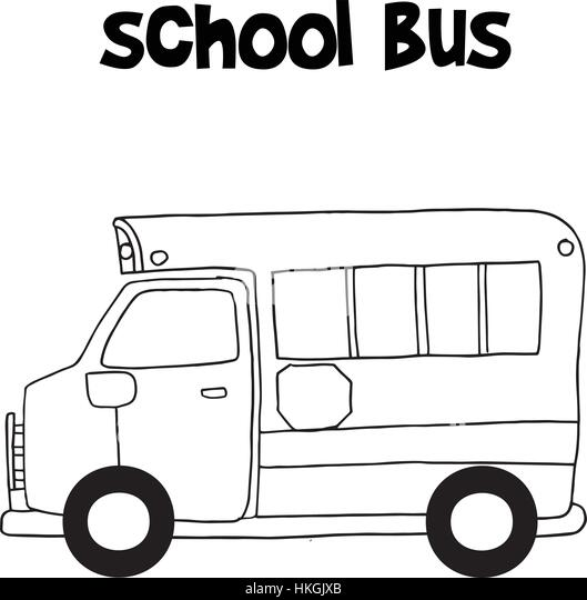 school bus with hand draw vector stock image
