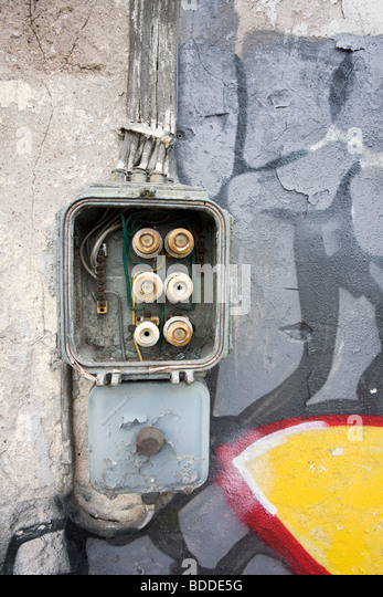 old electrical fuse box stock photos & old electrical fuse box Old Fuse Box old fuse box on abandoned warehouse wall stock image old fuse box