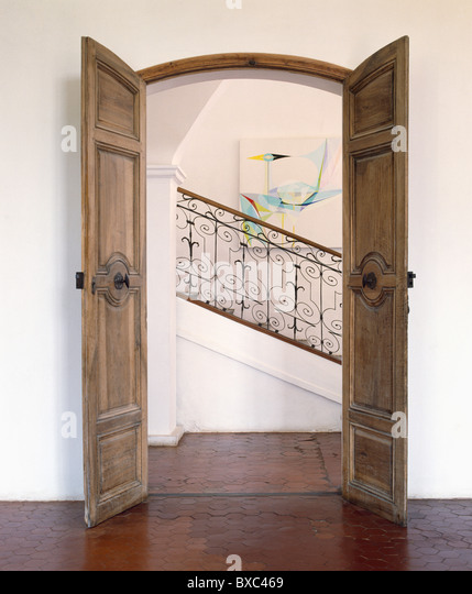 French doors interior stock photos french doors interior for Double open french doors