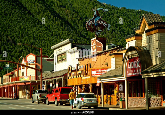 Jackson wyoming downtown stock photos jackson wyoming for Towns near jackson hole wyoming