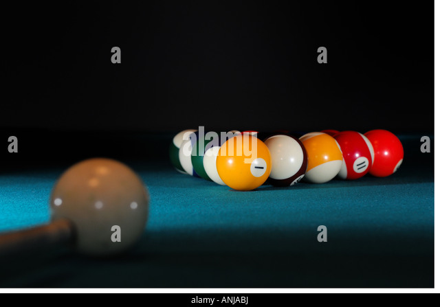 Pool Table Set Up For A Game   Stock Image
