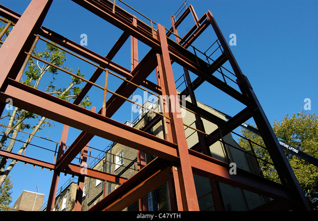 steel frame building construction bloomsbury london uk stock image