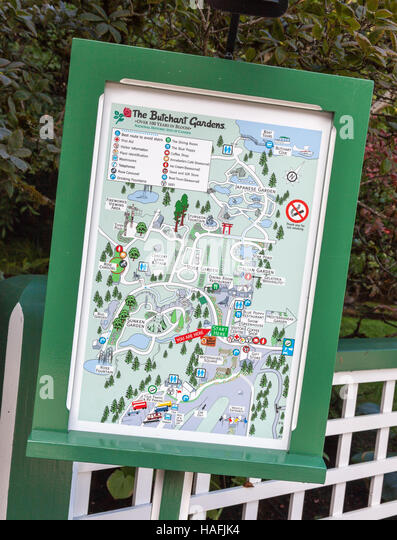 A Map Or Plan Of Butchart Gardens Brentwood Bay, British Columbia, Canada,  Located