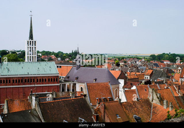 View over rooftops of town St Pol sur Ternoise - Stock Image