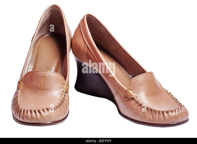 Pair Of Brown Womens Shoes Isolated On White