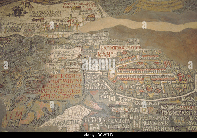 Holy land map stock photos holy land map stock images alamy elk164 1722 jordan madaba st george s church mosaic map of middle east 560 ad gumiabroncs Images