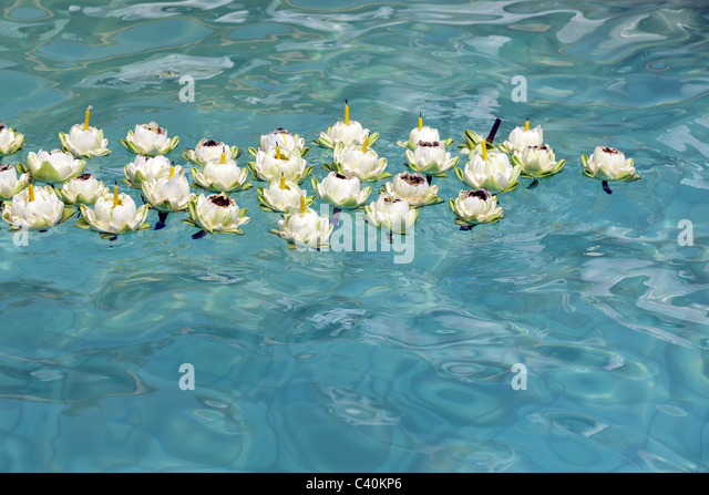 Floating candle water stock photos floating candle water for Floating flowers in water