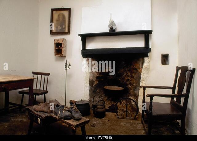 Co Antrim Ireland Interior View Of A Traditional Irish Cottage