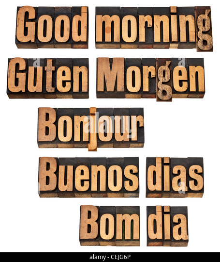 Good Morning Gay In French : English spanish language stock photos
