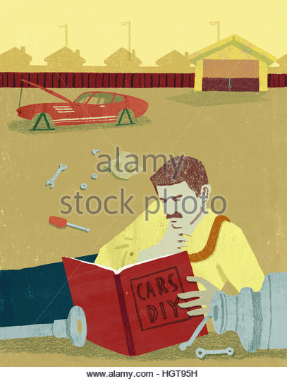 Instructions manual stock photos instructions manual stock businessman reading do it yourself manual for repairing broken car stock image solutioingenieria Image collections