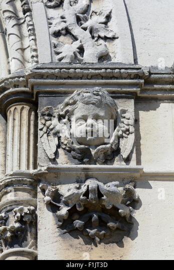 Carved stone cherub stock photos