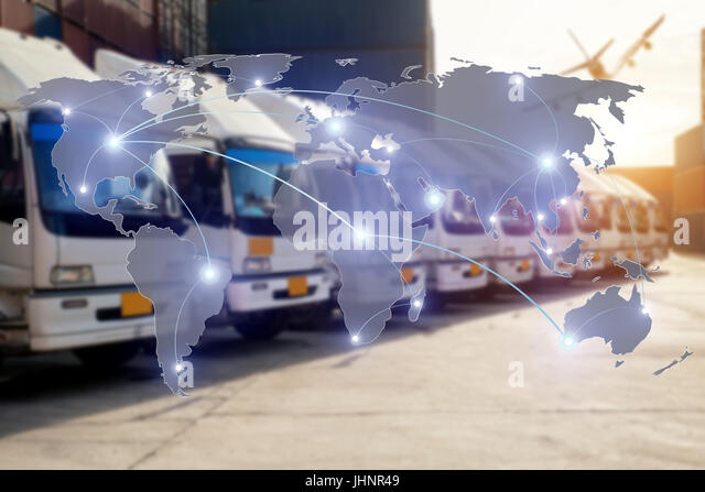 Map global logistics partnership connection of Container Cargo freight truck for Logistics Import Export background - Stock Image