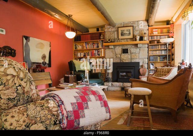 Cottage Living Room With Fireplace wooden fireplace beam stock photos & wooden fireplace beam stock