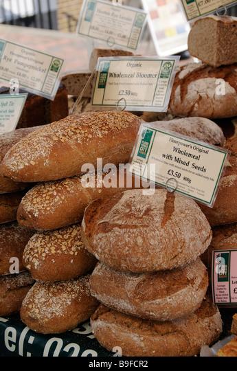 Fresh Bread On Sale On A Farmers Market Stall In Royal Tunbridge Wells Kent England Uk