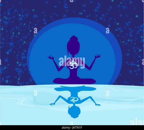 Yoga Ohm Symbol Over Moon Silhouette Woman Stock Photos Yoga Ohm