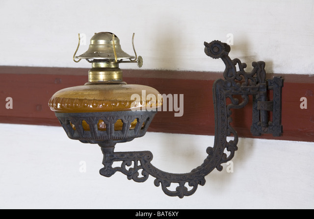 Antique Oil Lamp On Wall   Stock Image