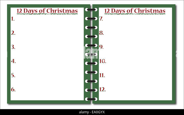 12 days of christmas template .