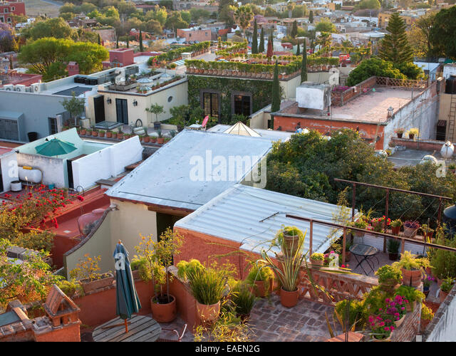 View Of Roof Gardens And Patios In Mexican Village   Stock Image