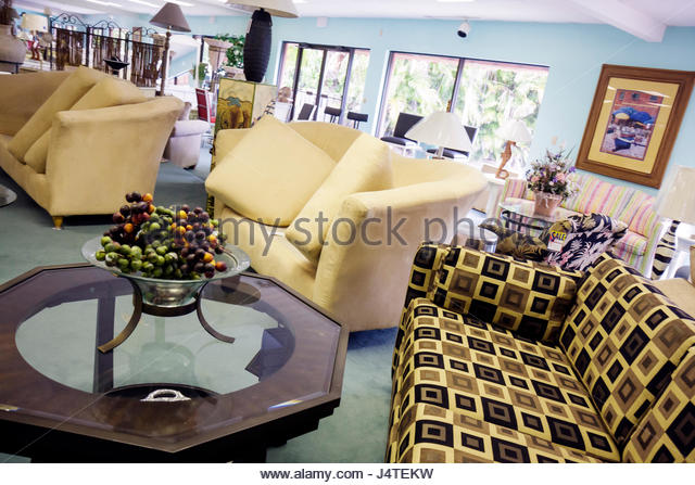 Naples Florida Furniture Store Business Retail Showroom Couch Sofa Cocktail  Table Furnishing Decor Shopping   Stock