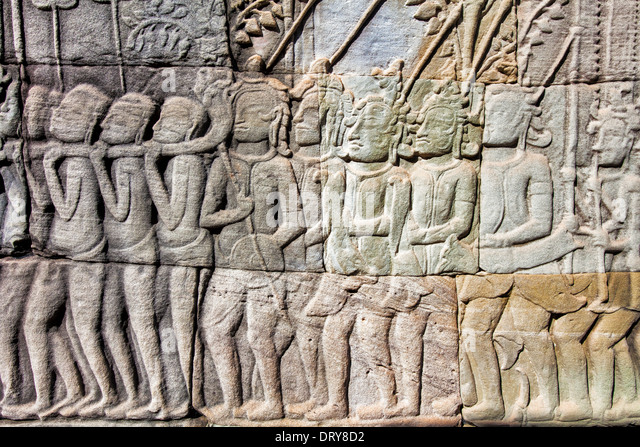 Cambodia wat bas relief stone carving stock photos